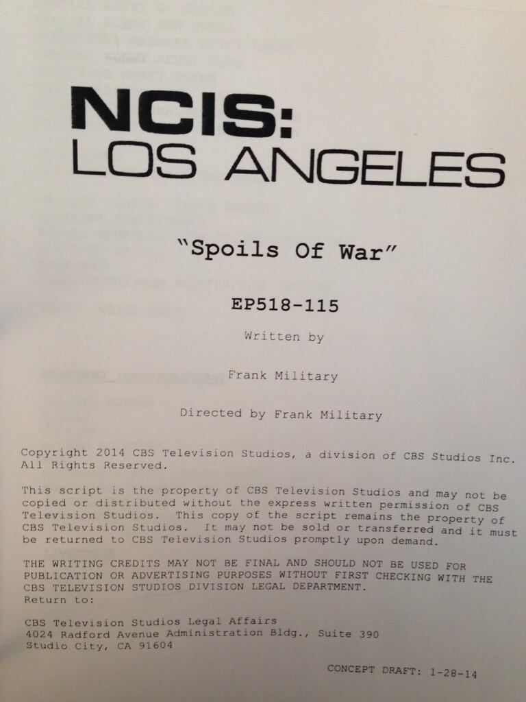 """NCISLA """"Spoils Of War"""" BTS Picture"""