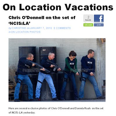 NCIS: Los Angeles actors Daniela Ruah and Chris O'Donnell on location