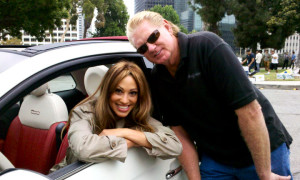 Lisa with stunt coordinator Terry James on Fiat commercial