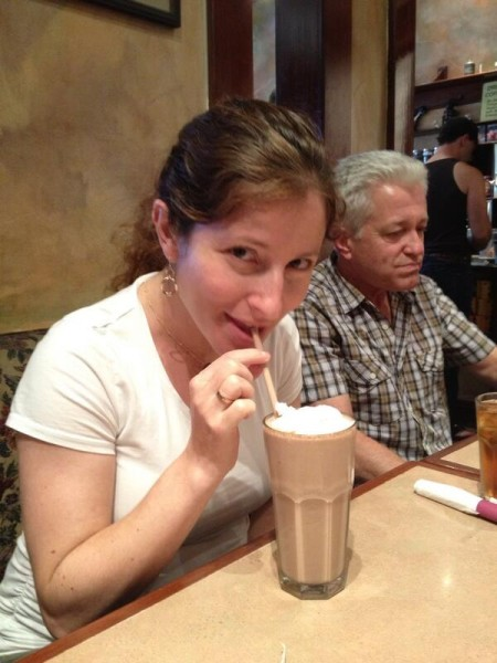 Our scribe, Jordana, sipping on a Chocolate malt. Scouting Ep.506 #ncisla #happyFriday ©JPKouz