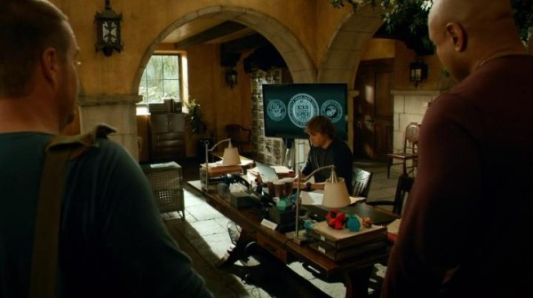 Deeks first one in the office... Sam & Callen are right to be puzzled...
