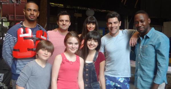 HannaH Eisenmann and Stone Eisenmann with the NEW GIRL Cast